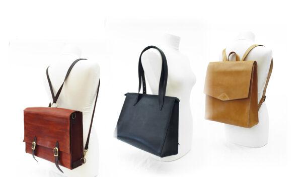 Eksempler på tasker, man kan lave på læderværkstedet.