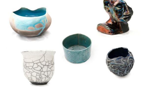 Nogle eksempler på raku-keramik.