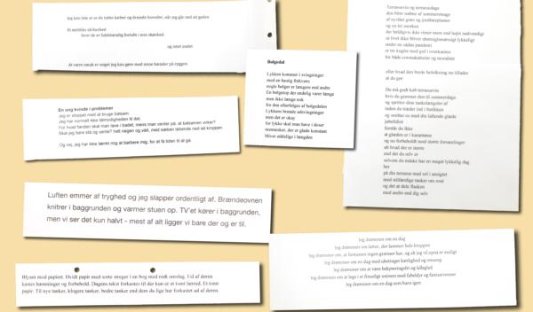 Der er mange forskellige skriveøvelser i skriveværkstedet. Her er det eleverne, der har skrevet digte.